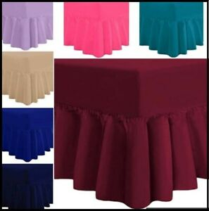 Luxury Plain Dyed Percale Platform Base Valance Sheets Pastel Colours All Sizes
