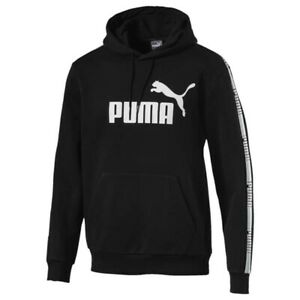 Puma Mens Graphic Hoodie Taped Logo Jumper Black 852416 01