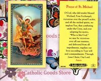 St. Michael with Prayer of Saint Michael the Archangel - Laminated Holy Card