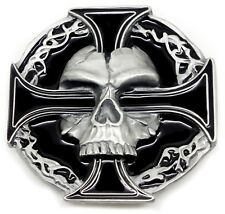 Skull Belt Buckle Skull & Cross Skeleton Thin Gothic Authentic Pagan Product
