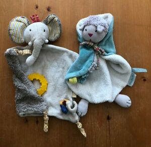 Moulin Roty Pachats Dou Dou Comforters Cat and Elephant