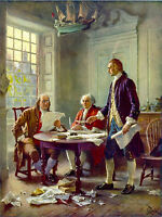 Writing the US Declaration of Independence America Real Canvas Fine Art Print