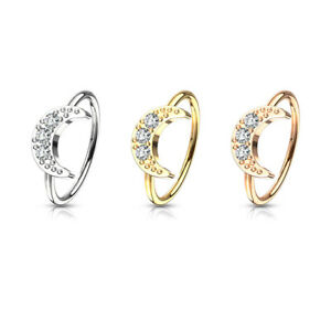 Moon Nose Hoop Rings with CZ Surgical steel