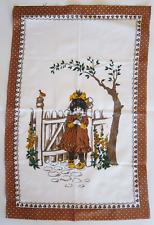 Vintage Tea Towel 1970s Girl in Garden Scene 100% Cotton Browns Unused As New