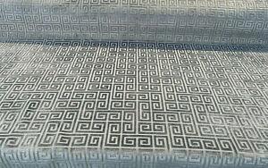 Charcoal Greek Key Velvet Coal Sona Upholstery Fabric by the yard