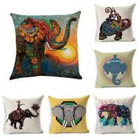 African Ethnic Linen Throw Elephant Pillow Case Sofa Car Cushion Cover Home Deco