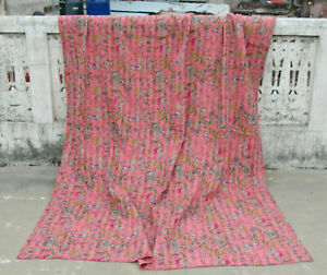 Indian Pure Cotton Floral Print Kantha Handmade Bedspread Quilt Throw Blanket