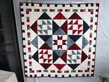 "NEW  BEAUTIFUL MULTI-BLUE & BURGUNDY* LAP QUILT * HANDMADE IN USA * 46""W x 46 ""L"