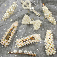 Popular Women Pearl Hair Clip Hairpin Snap Barrette Stick Gift Hair Accessories