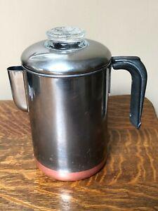 Vtg REVERE WARE Coffee Pot Maker 8 Cup Percolator Stove Top Copper Clad Steel