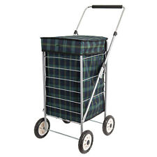Sabichi Angus 4 Wheel Shopping Trolley Tartan Check Adjustable Handle
