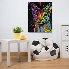 Colorful Animal Cat Kitty Canvas Oil Painting Picture Wall Art Hanging Decor