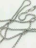 """14k White Gold Round Box Link Necklace Pendant Chain 24"""" 1.7mm"""