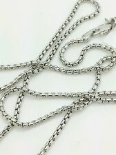 "14k White Gold Round Box Link Necklace Pendant Chain 20"" 1.7mm"
