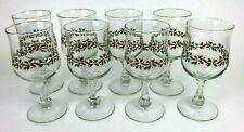 Libbey Holly Berry Gold Rim Christmas Wine Water Glasses Stemware Vintage 8 Set