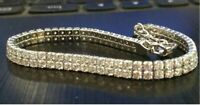"""3.60 Ct 7"""" Round 2 Row Diamonds Tennis Bracelet 14K White Gold Over Silver"""