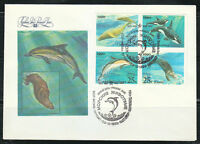 Russia 1990 FDC cover USA&USSR issue Dolphins & Marines Sc 5933-5936 Mi 6130-33
