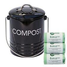 Mini Black Metal Compost Caddy + 150x compostable bags - Kitchen Compost