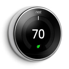 Nest 3rd Generation Smart Learning WiFi Thermostat POLISHED STEEL Model T3019US
