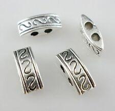 40pcs Tibetan silver 2 holes Connectors Beads 4x10mm (Lead-free)