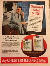 Ed Sullivan, Chesterfield Cigarettes, Full Page Vintage Print Ad