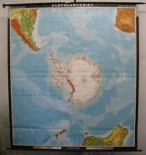 Schulwandkarte schöne alte südliche Erdhälfte Antarktis 197x220 vintage map 1978