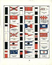 Stampa antica BANDIERE MARINA MERCANTILE Tav.29 House Flags 1882 Antique print