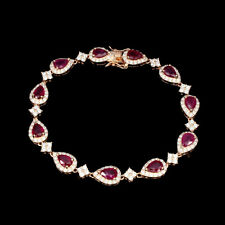 Pear Red Ruby 7x5mm Cz 14K Rose Gold Plate 925 Sterling Silver Bracelet 7.5 Inch