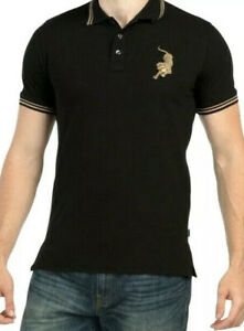 JUST CAVALLI Men's Gold Tiger Logo Authentic Trim Polo Size Xl $295 Worn Once