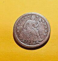 1855-Dime-Liberty Seated  PreCivil War Coin-163 yr  old-Variety II-#1016
