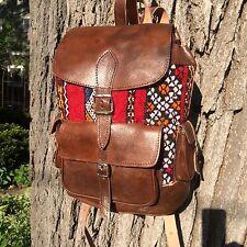 Handwoven Kilim and leather Backpack. Turkish Kilim Carpet Bag. Hippie Purse.
