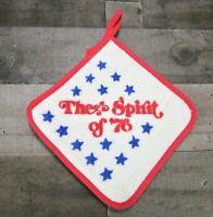 The Spirit of 76 Patriotic Red White Blue Star Pot Holder Hot Pad New 70 Vintage