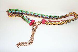 Women's Woven Leather Chain Belt Multi #BEL2