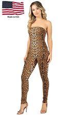 Women's Jumpsuit Tube Animal Print Full Length Catsuit S M L