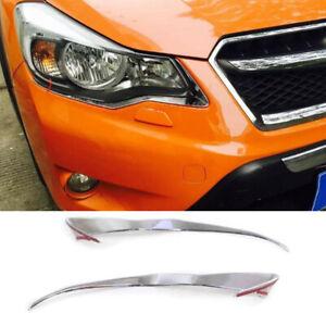 ABS Chrome Car Front Headlight Lamp Cover Trim 2PCS Fit For Subaru XV 2012-2017