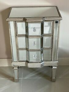 Mirrored Antique Venetian Large Bedside Chest of Drawers Champagne Silver Finish
