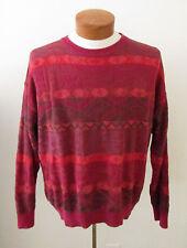 Mens Vintage BIZZARRO ITALY Red Orange Brown Textured Sweater ~ Sz 50 Large (I9)