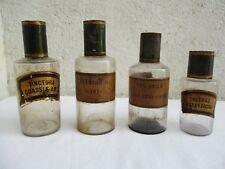 4 Anciens pots flacons à pharmacie en verre soufflet XIXème siècle (Série N°2)