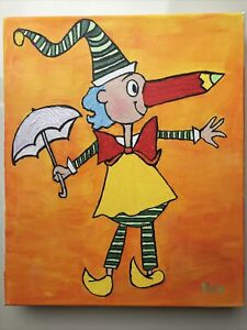 Original Wall Art Mr Squiggle Canvas 10x12In Hans Painting