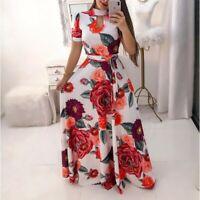 Women's Boho Floral Ladies Summer Casual Fashion Dress Short Sleeve Maxi Dresses