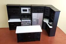 Dolls House Modern Black Fitted Kitchen Furniture Set Miniature Wooden 1 12