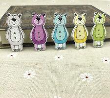 25pcs Mix Doll bear Wooden Sewing buttons scrapbooking decoration craft 41mm