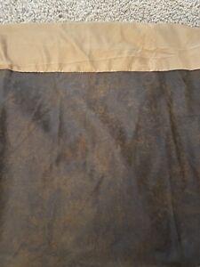 "HiEnd Accents Rustic Dark Brown Faux Leather BedSkirt 18"" Split SUPER QUEEN"