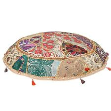 Decor Cotton Patchwork Floor Cushion Cover Indian embroidered Ottoman Pouf Cover