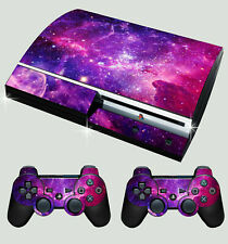 PLAYSTATION PS3 ORIGINAL STICKER GALAXY VIBRANT SPACE STARS SKIN & 2 PAD SKINS