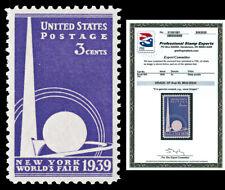 Scott 853 1939 3c World's Fair Issue Mint NH Graded XF-Sup 95 PSE CERTIFICATE!