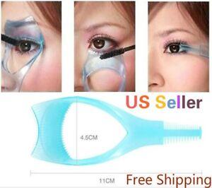 3 in 1 Eyelash Template Curler Mascara Guard Applicator Comb Brush Cosmetic Tool