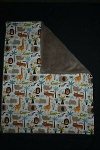 Jungle Animal Baby Blanket - handmade