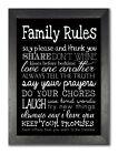 Family Rules #3 Life Inspiration Love Home Dedication Black & White Print Poster
