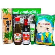 Sushi Starter Set 6 teilig + GRATIS Reislöffel Wasabi Nori Sushimatte Sojasoße
